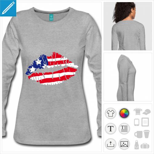 t-shirt à manches longues drapeau américain à créer soi-même
