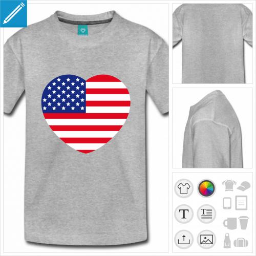 t-shirt manches courtes drapeau américain à personnaliser en ligne