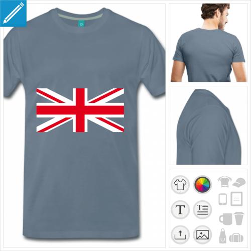 T-shirt drapeau anglais, t-shirt union jack à personnaliser et imprimer en ligne.