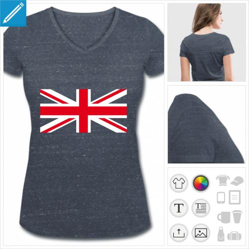 t-shirt femme col v union jack à personnaliser et imprimer en ligne