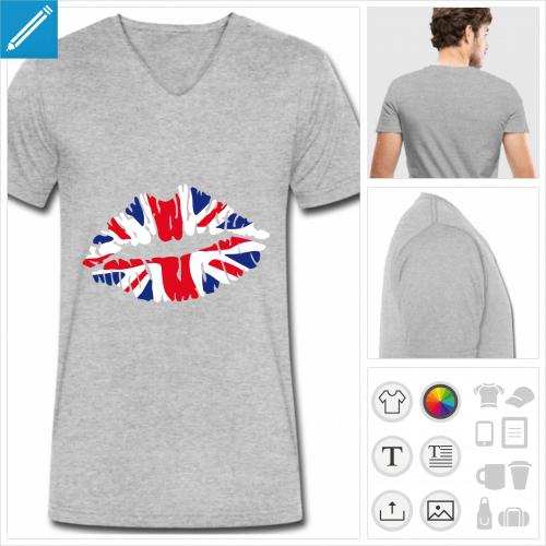 T-shirt drapeau anglais kiss, union jack sur bouche stylisée, à personnaliser et imprimer en ligne.