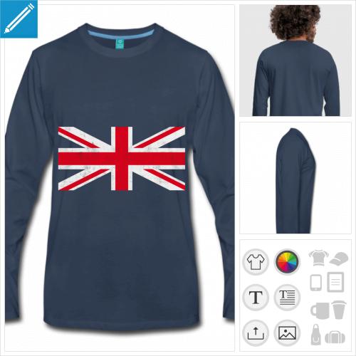 t-shirt manches longues drapeau anglais à imprimer en ligne