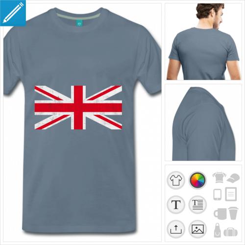 t-shirt marine drapeau angleterre à personnaliser en ligne