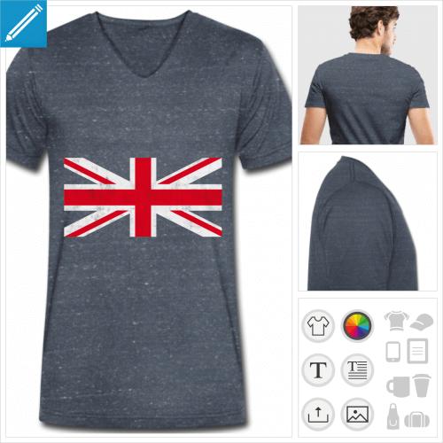 T-shirt drapeau anglais vintage sur fond bleu marine à personnaliser en ligne.