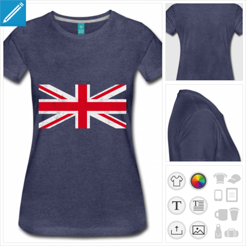 t-shirt drapeau anglais vintage personnalisable