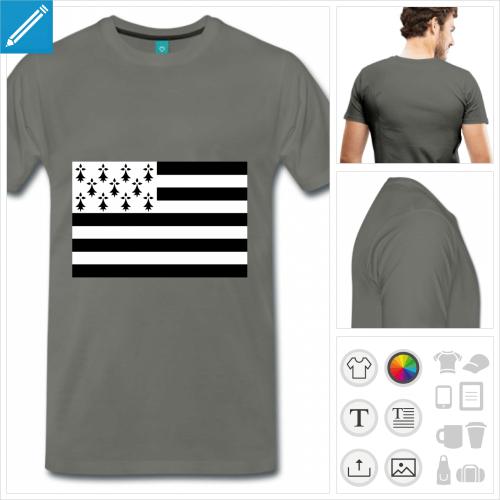 T-shirt drapeau breton personnalisable à créer soi-même en ligne.