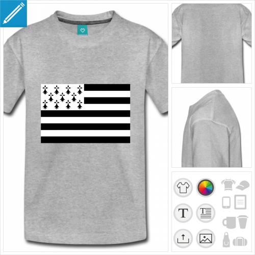 t-shirt bleu drapeau breton à créer soi-même