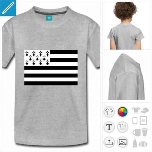 t-shirt basique bretagne personnalisable, impression à l'unité