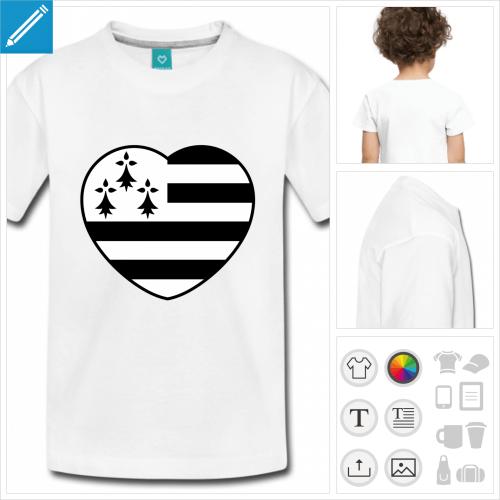 t-shirt blanc breton à personnaliser et imprimer en ligne