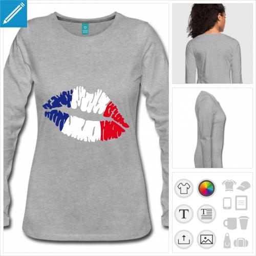 tee-shirt manches longues drapeau français à créer soi-même