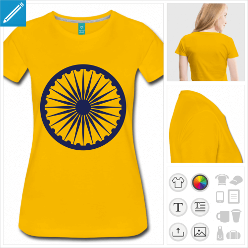 t-shirt jaune chakra Inde à personnaliser et imprimer en ligne