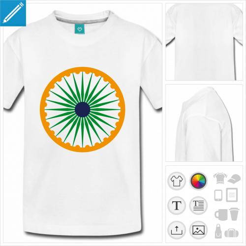 t-shirt adolescent drapeau indien personnalisable