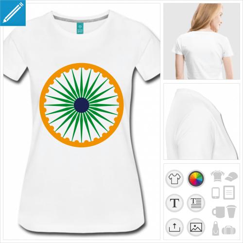 t-shirt femme charkha personnalisable, impression à l'unité