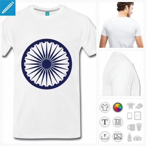 t-shirt blanc chakra personnalisable, impression à l'unité