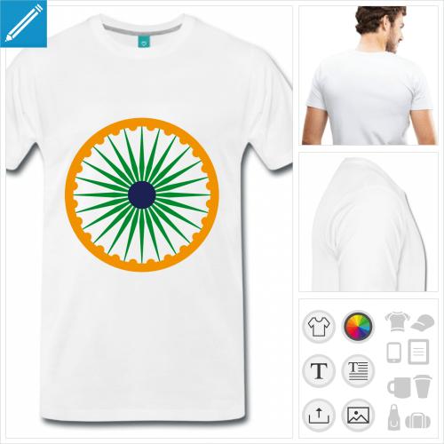 T-shirt drapeau indien avec chakra aux couleurs de l'inde, à personnaliser en ligne.