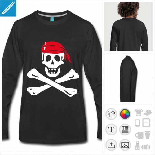 t-shirt pirate à personnaliser, impression unique