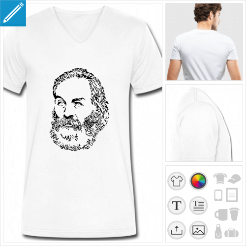 t-shirt homme walt whitman à personnaliser, impression unique