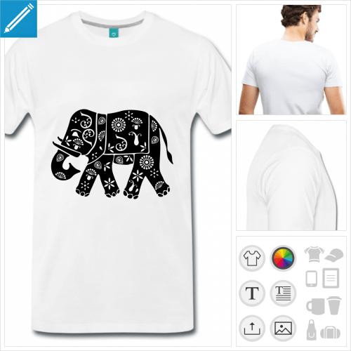 T-shirt éléphant décoré de motifs indiens classiques, à personnaliser et imprimer en ligne.