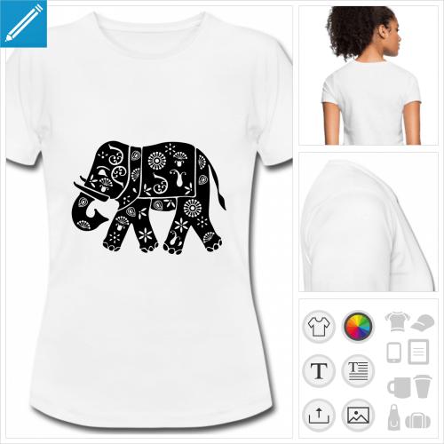 t-shirt basique éléphant fleuri à personnaliser