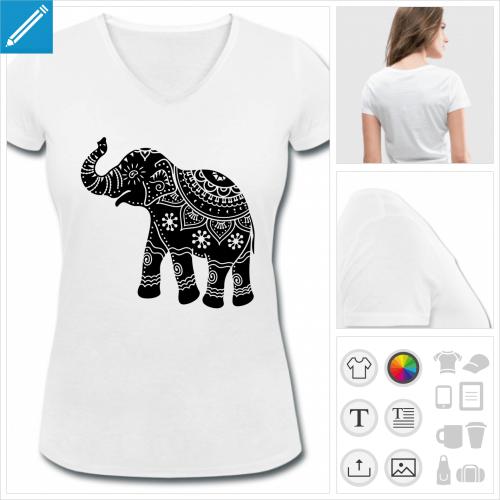 t-shirt femme éléphant à créer soi-même