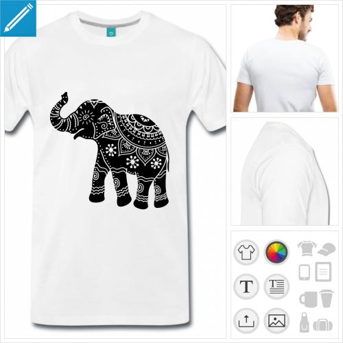 T-shirt éléphant décoré, éléphant stylisé à imprimer en ligne.