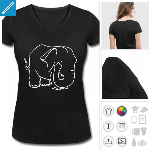 t-shirt simple dessin éléphant à imprimer en ligne