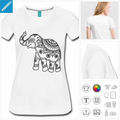 tee-shirt éléphant inde à personnaliser en ligne