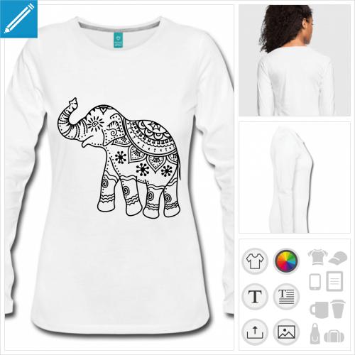 t-shirt manches longues éléphant à personnaliser en ligne