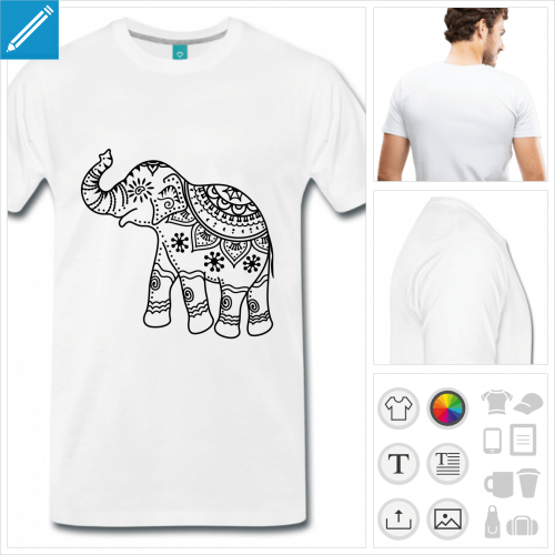T-shirt éléphant indien orné de décorations, éléphant en tracés fins à imprimer en ligne.