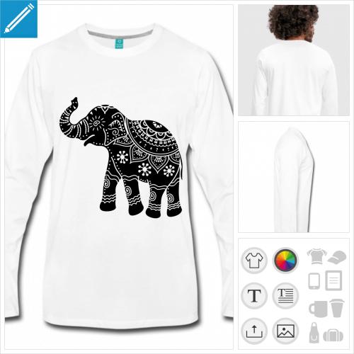 t-shirt manches longues éléphant décoré à créer soi-même
