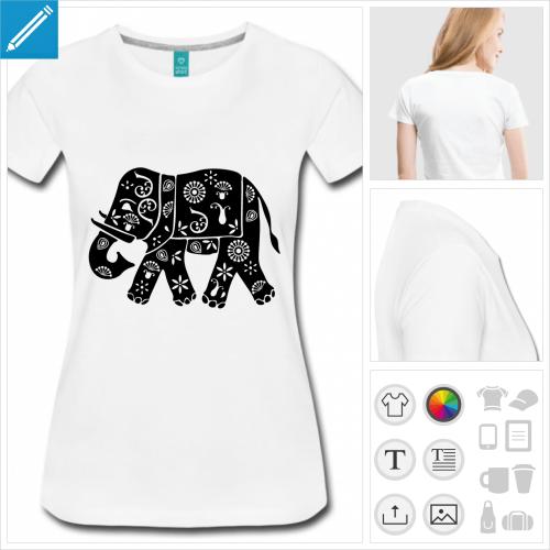 tee-shirt bleu roi éléphant fleuri à imprimer en ligne