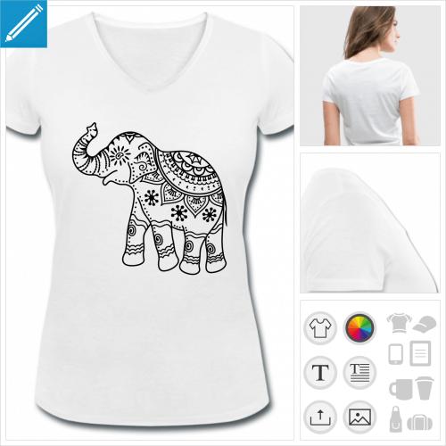 t-shirt femme éléphant à créer en ligne