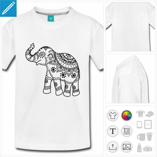 t-shirt basic éléphant indien à personnaliser