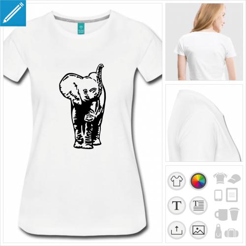 t-shirt manches courtes éléphant à imprimer en ligne