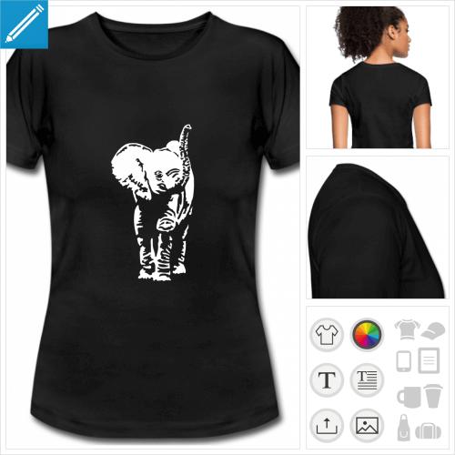 t-shirt noir basique éléphanteau à personnaliser et imprimer en ligne