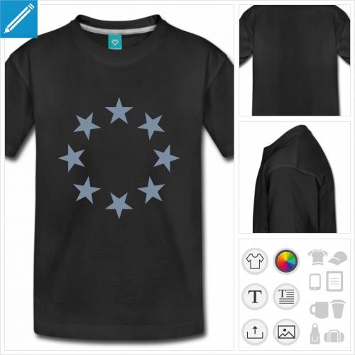 t-shirt manches courtes étoile à personnaliser, impression unique