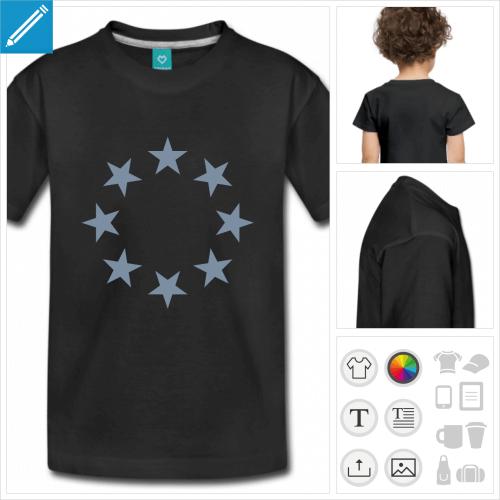 t-shirtnoir cercle étoiles à personnaliser en ligne