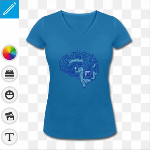 T-shirt bleu pour femme, manches courtes et col en V, motif cerveau dessiné en circuit imprimé. T-shirt geek et robotique personnalisé.