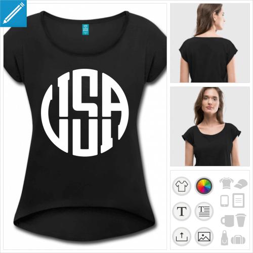 T-shirt pour femme personnalisé USA avec coupe cropped et le devant plus court que le dos. Modèle manches courtes.