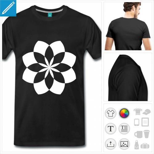 T-shirt fleur de lotus géométrique, cercles entrecroisés formant un lotus personnalisable.