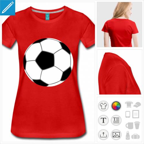 T-shirt foot, ballon de foot simple stylisé dessiné en trois couleurs, à imprimer en ligne.