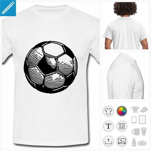 t-shirt blanc football à personnaliser, impression unique