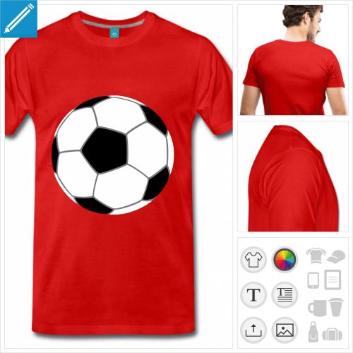 T-shirt football, ballon de foot 3 couleurs à personnaliser. Créez votre t-shirt supporter.