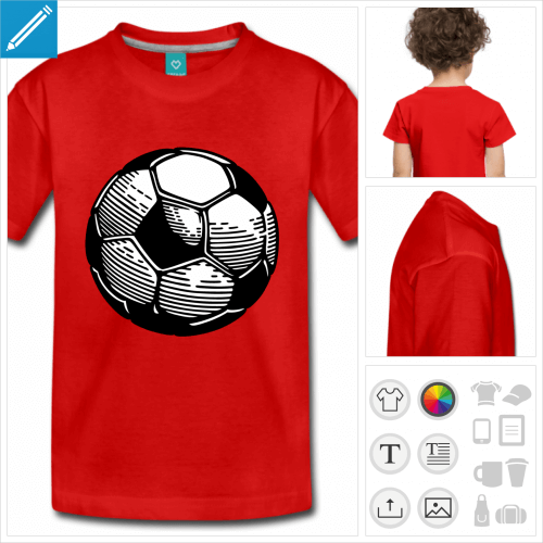 t-shirt premium enfant football à personnaliser, impression unique