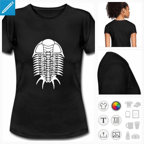 t-shirt manches courtes trilobite à personnaliser, impression unique