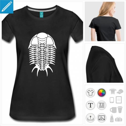t-shirt noir trilobite à personnaliser, impression unique