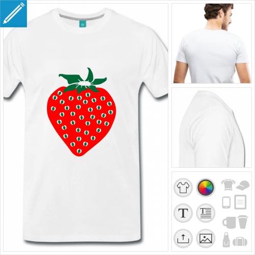 T-shirt fraise stylisée rouge et verte, à imprimer en ligne.