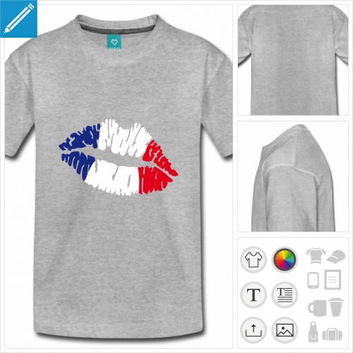 t-shirt gris drapeau français personnalisable, impression à l'unité