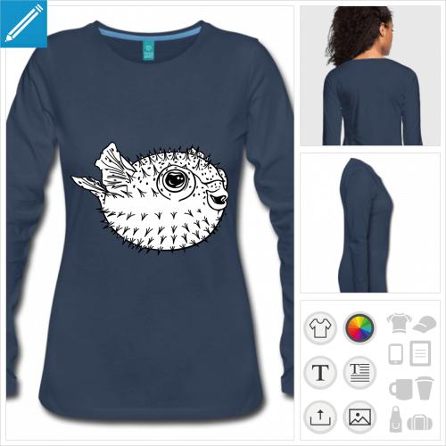 t-shirt femme poisson globe personnalisable