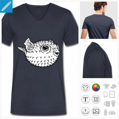 t-shirt bleu marine fugu à personnaliser et imprimer en ligne